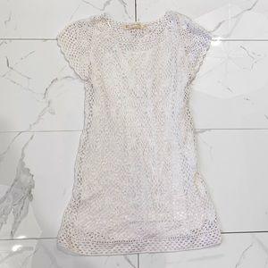 Zara Knit White Crochet Short Sleeve Top